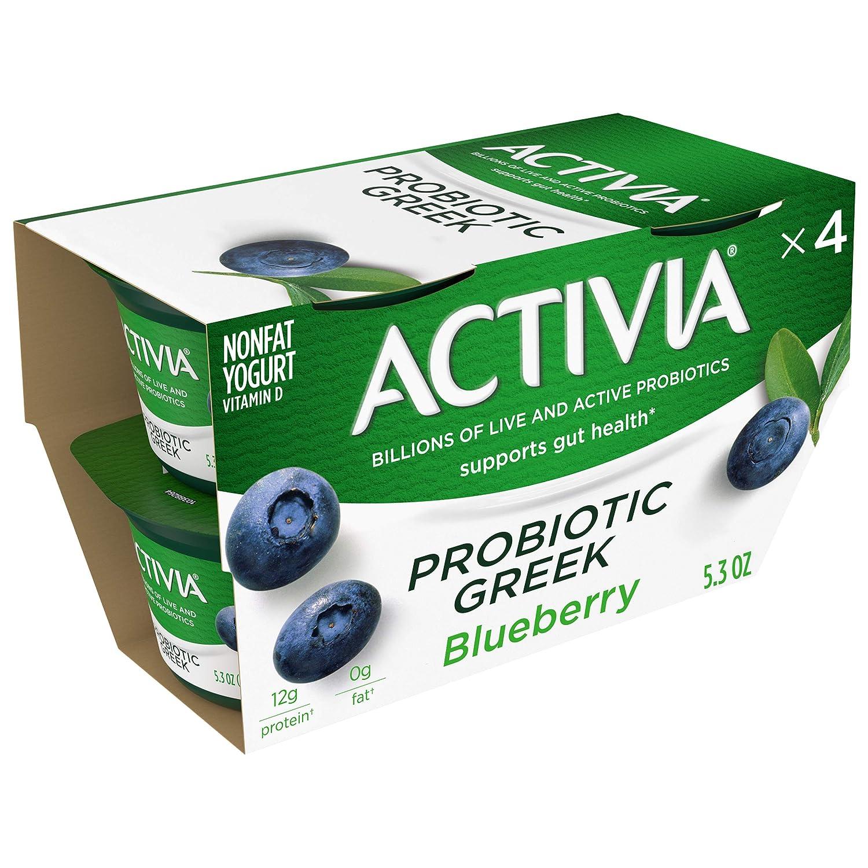 Activia Probiotic Nonfat Greek Yogurt, Blueberry, 5.3 oz., 4 Pack