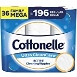 Cottonelle Ultra CleanCare Toilet Paper with Active CleaningRipples, Strong Biodegradable Bath Tissue, Septic-Safe, 36 Family Mega Rolls