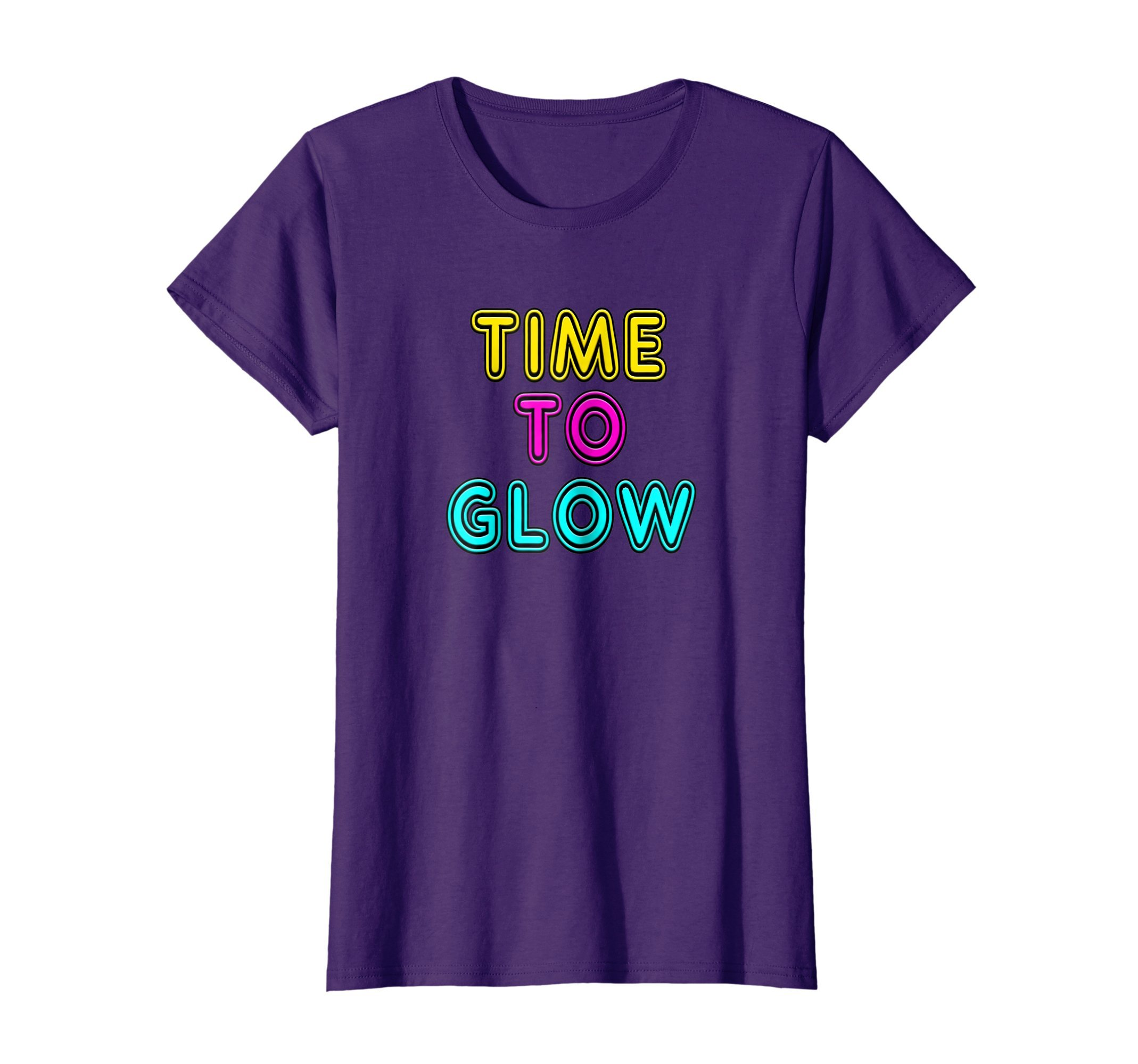 Womens Time to Glow Retro 80's Neon Sign Party T-Shirt XL Purple