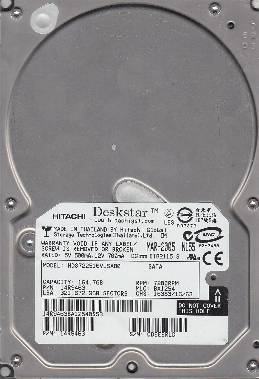 Hitachi 164.7GB SATA 3.5 Hard Drive MLC BA1254 HDS722516VLSA80 PN 14R9463