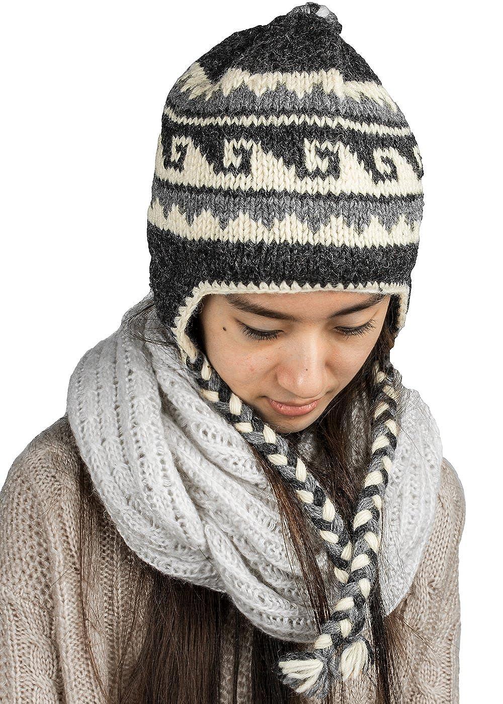 88a57937eff Tribe Azure Fair Trade Soft Warm Wool Hat Cap Winter Fleeced Inside Thick  Ear Flaps Women Fashion Grey  Amazon.ca  Clothing   Accessories