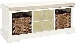Crosley FurnitureBrennan Entryway Storage Bench with Wicker Baskets and Cushion, White