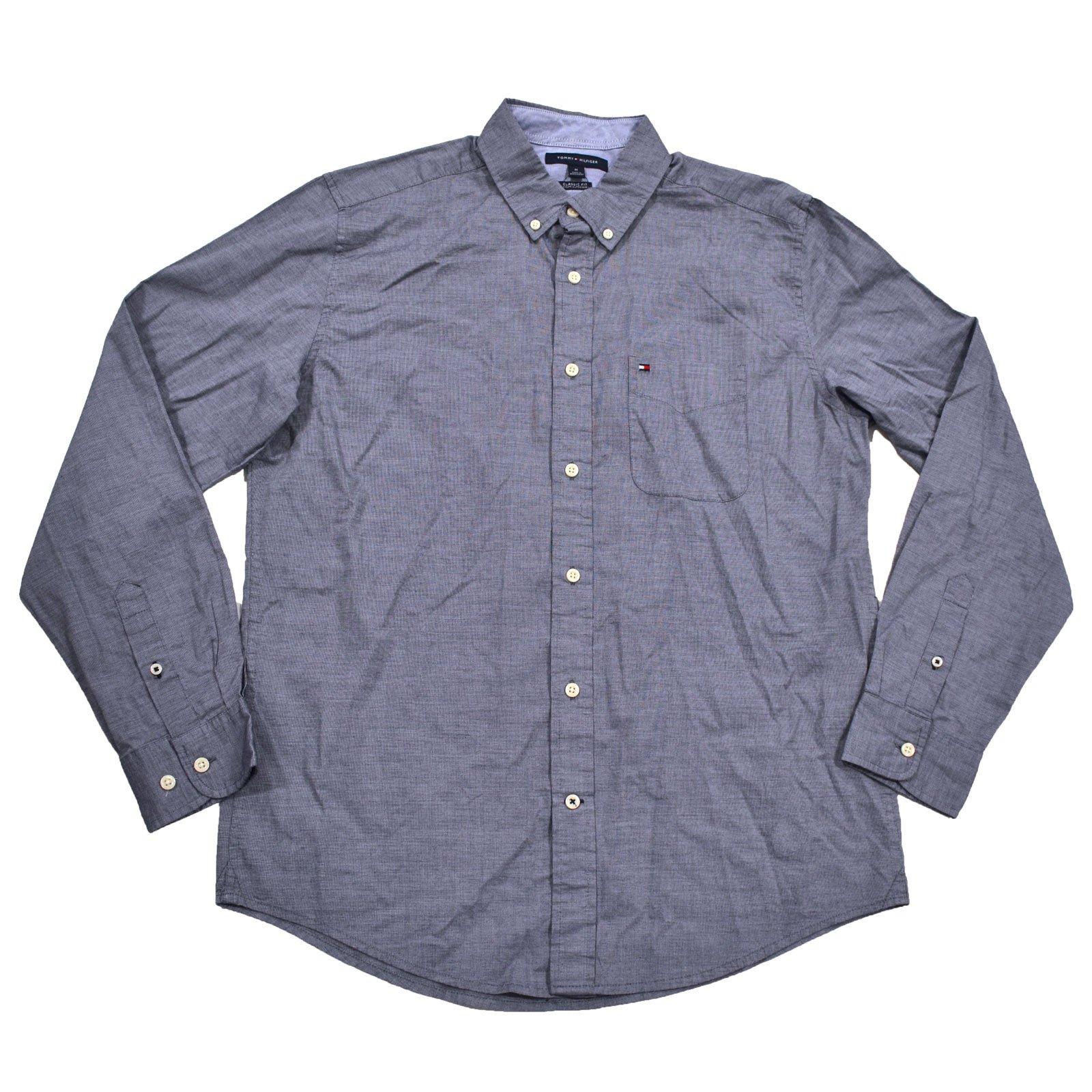Tommy Hilfiger Mens Classic Fit Buttondown Shirt (L, Navy Blazer)