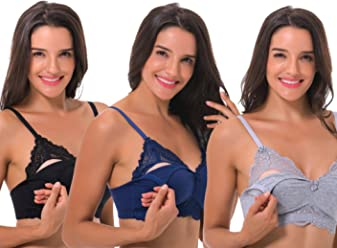 441d11e633 Curve Muse Plus Size Nursing Cotton Unlined Wirefree Bra with Lace Trim-2  Or 3PK