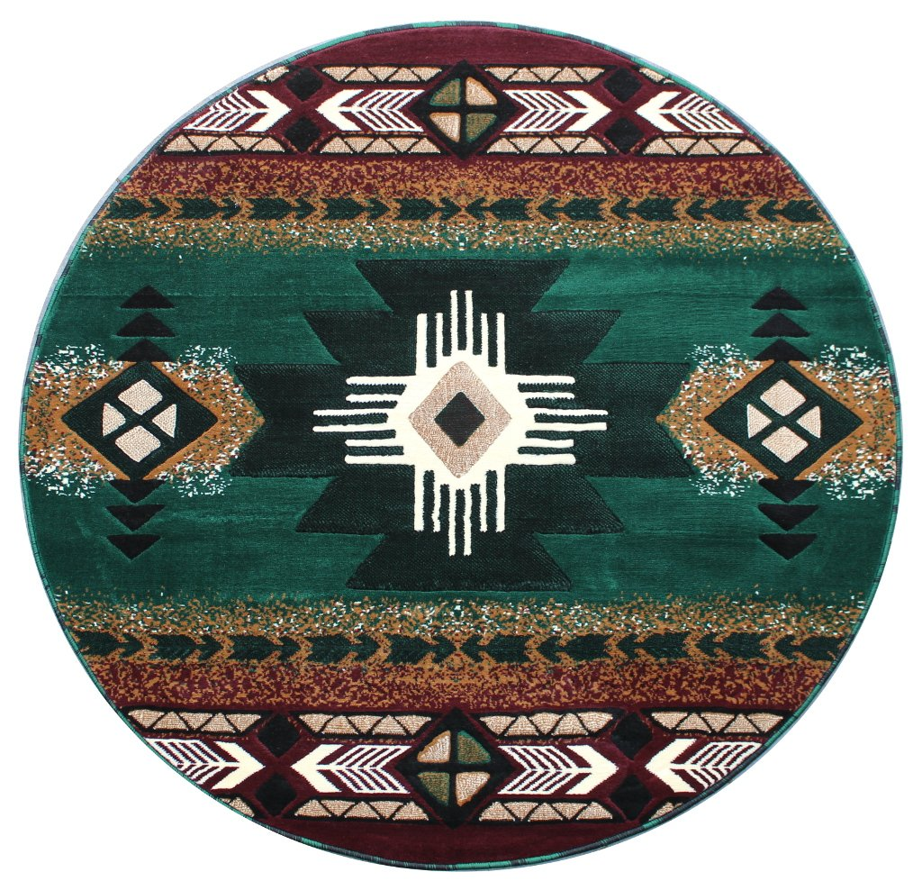 Hunter Green (5 Feet X 5 Feet) Round Southwest Native American Area Rug Runner Design C318 Hunter Green (2 Feet 4 Inch X 10 Feet 11 Inch)