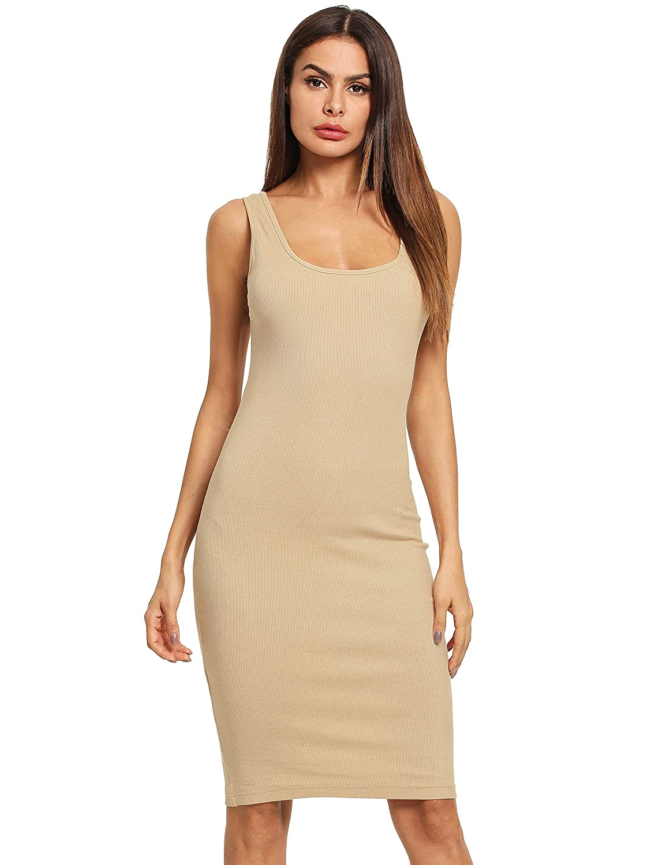 MAKEMECHIC Women's Sleeveless Tank Dress Basic Scoop Neck Bodycon Midi Dress