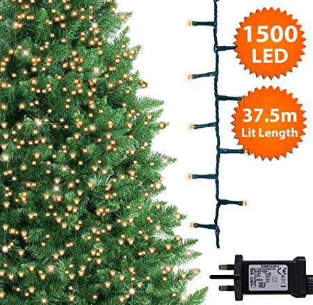 Ansio Christmas Tree Lights 1500 Led 37 5m Warm White Indoor Outdoor Christmas Lights Decorations Fairy String Lights Memory Timer Mains Powered 123ft