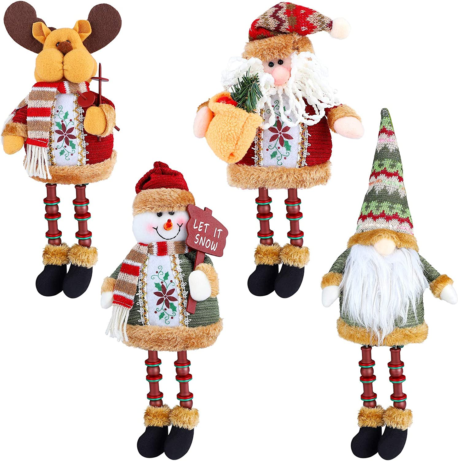 RUODON 4 Pack Christmas Long Legs Table Decoration Handmade Sitting Ornament Winter Sitting Hanging Table Fireplace Decor Decorations
