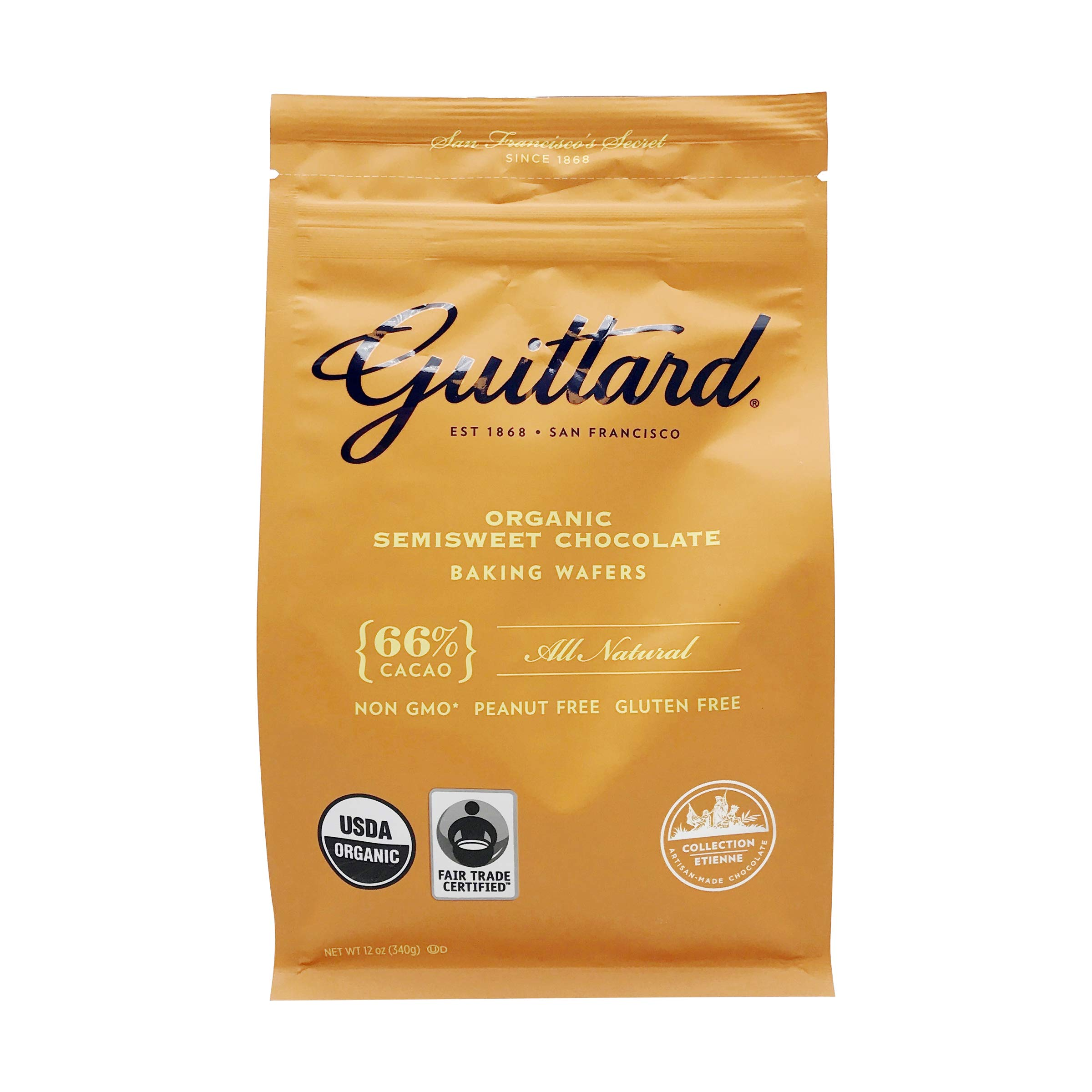 Guittard, Organic 66% Chocolate Baking Wafers, 12 Ounce