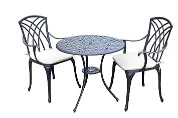 Bentley Garden Cast Aluminium Garden Patio Bistro Set Table and 2 ...