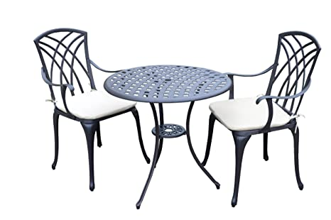 Panana-B Cast Aluminium Bistro Table with 2 Chairs 3 Piece Garden Furniture Set with Cushions Outdoor Patio
