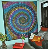 Gokul Handloom Multi Color Tie Dye Hippie Elephant Mandala Tapestry India Tapestry Wall Hanging Twin Size Bedspread Bedding Boho Dorm Decor