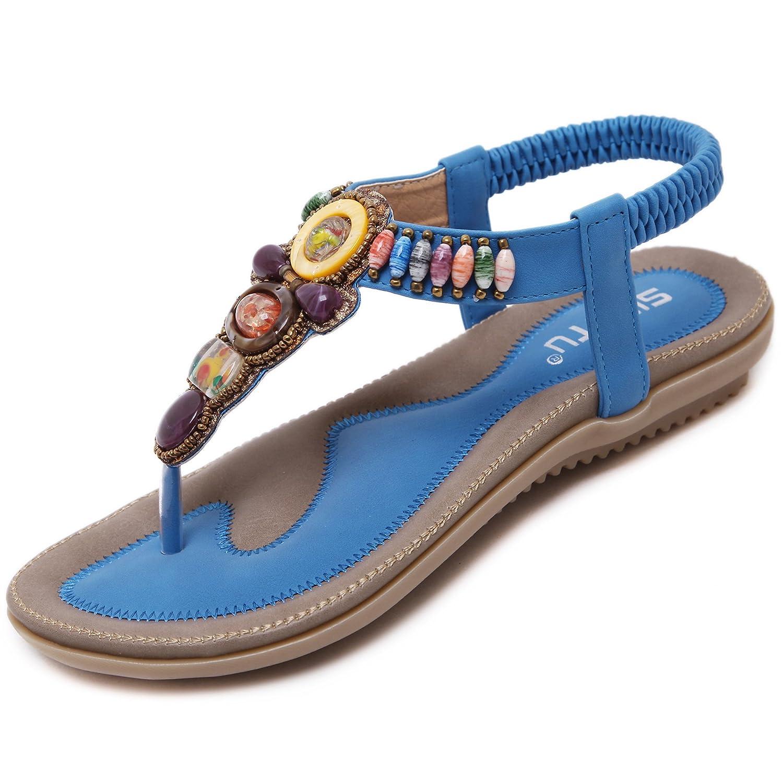 katliu Damen Sommer Sandalen Bouml;hmische Zehentrenner Sommerschuhe Frauen Flach Outdoor Schuhe  35 EU|Blue