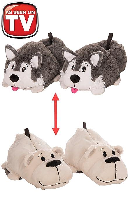 8a9e2bfbb89 Amazon.com  FlipaZoo 2-in-1 Husky to Polar Bear Plush Slippers by ...
