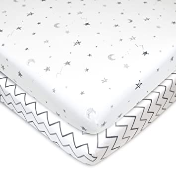 """American Baby Co Jersey Knit Fitted Portable//Mini Crib Sheet 24/""""x38/"""" 2pk"""