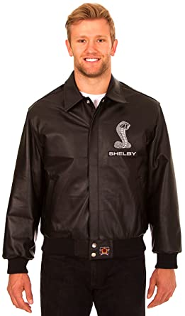 57cebf127 Amazon.com: Carroll Shelby Men's Black Leather Bomber Jacket with ...