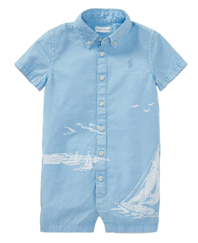 RALPH LAUREN Baby Boy Cotton Jersey Graphic Shortall White//Bluebell