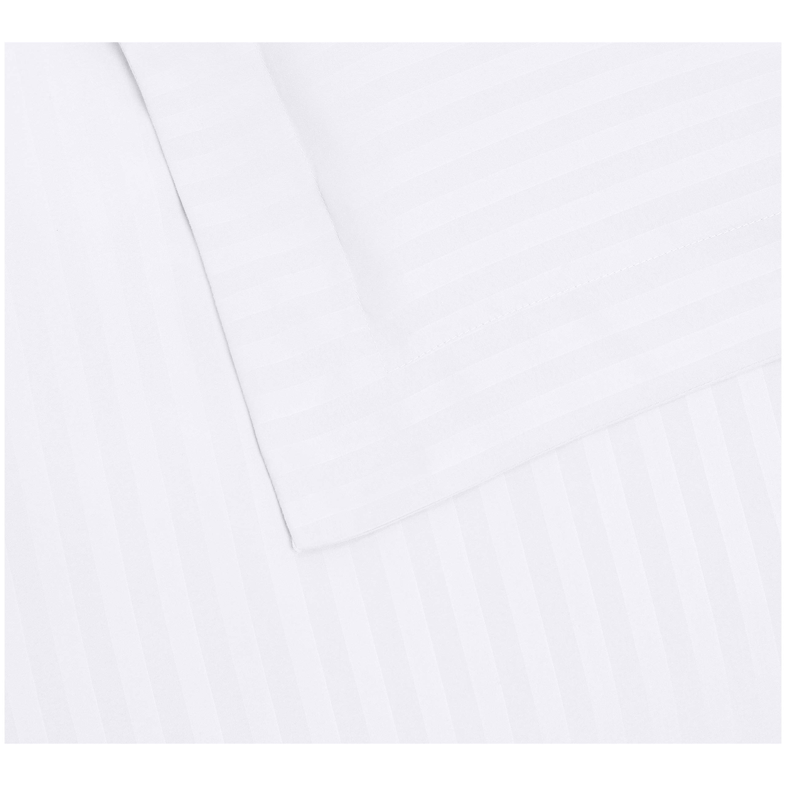 AmazonBasics Deluxe Striped Microfiber Duvet Cover Set - Full or Queen, Bright White by AmazonBasics (Image #5)