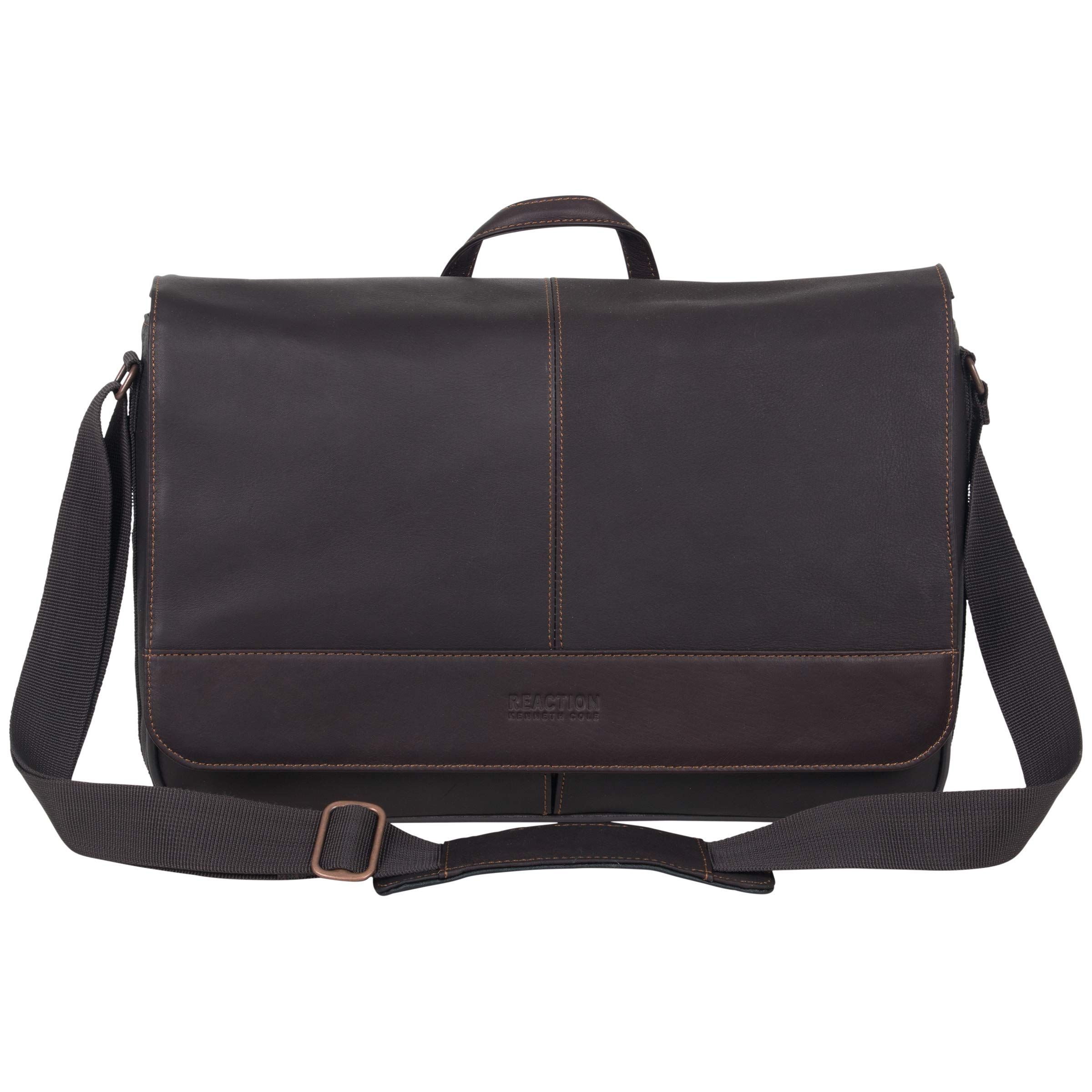 Kenneth Cole Reaction Come Bag Soon - Colombian Leather Laptop & iPad Messenger, Brown by Kenneth Cole REACTION