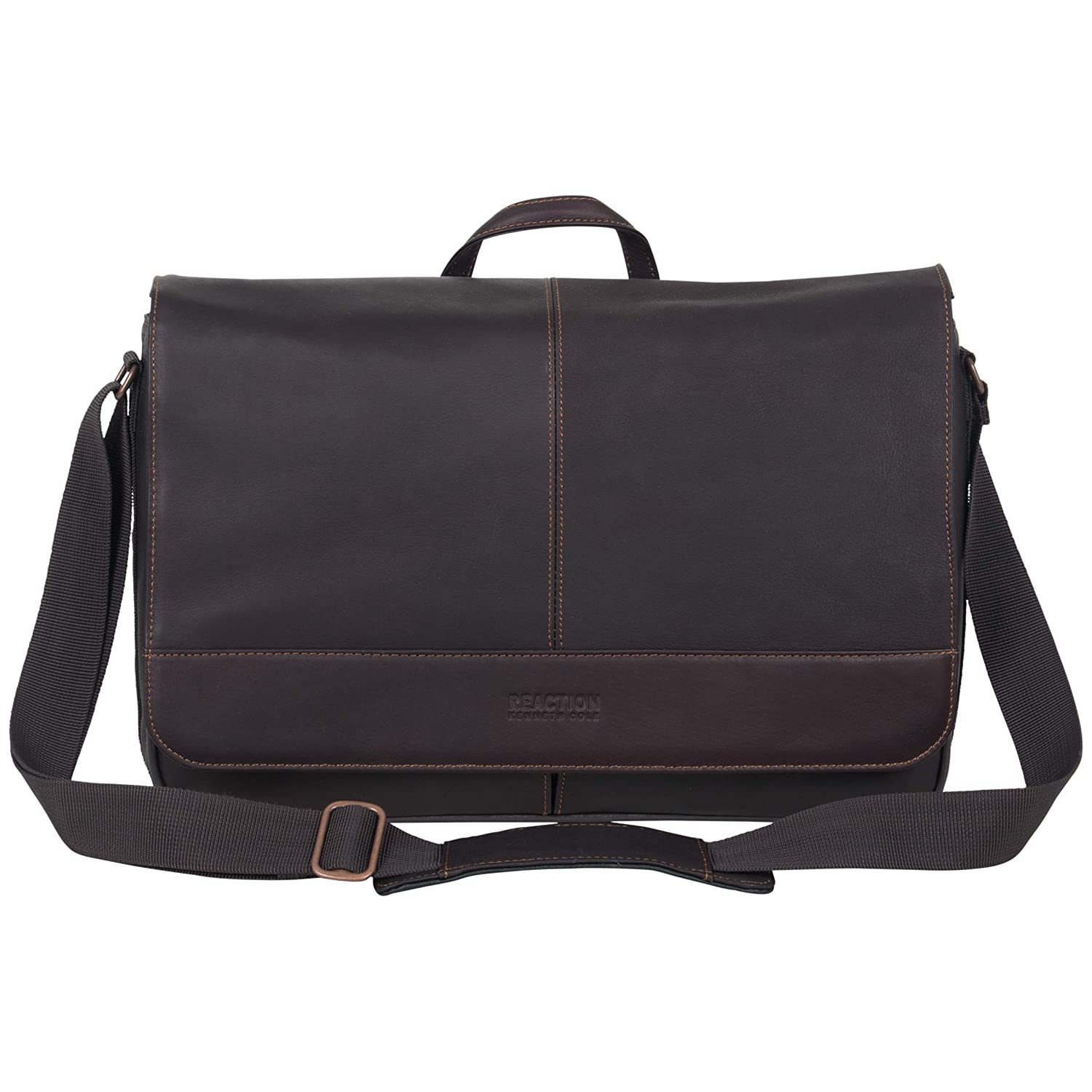 "Kenneth Cole Reaction Come Bag Soon Colombian Leather 15.6"" Laptop & Tablet RFID Messenger Travel Bag"