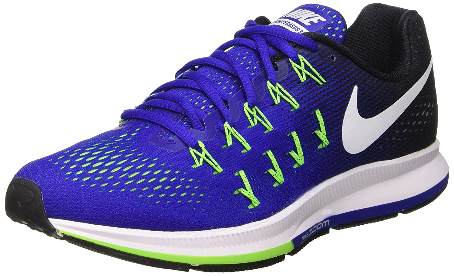 Nike Air Zoom Pegasus 33 Mens Running Trainers 831352 Sneakers Shoes (US 8.5, concord white black electric green 400)