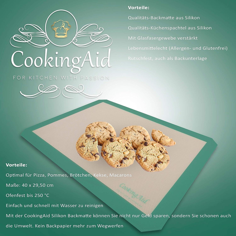 Silicona Gr/ün//Mint Alfombrilla de Silicona y esp/átula de Cocina CookingAid 40 cm x 29,50 cm