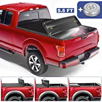 MOSTPLUS Quad Fold Soft Truck Bed Tonneau Cover On Top Compatible for 2015-2020 FORD F150 F-150 Bed Fourth Fold Styleside (5.5 FT Feet Bed)