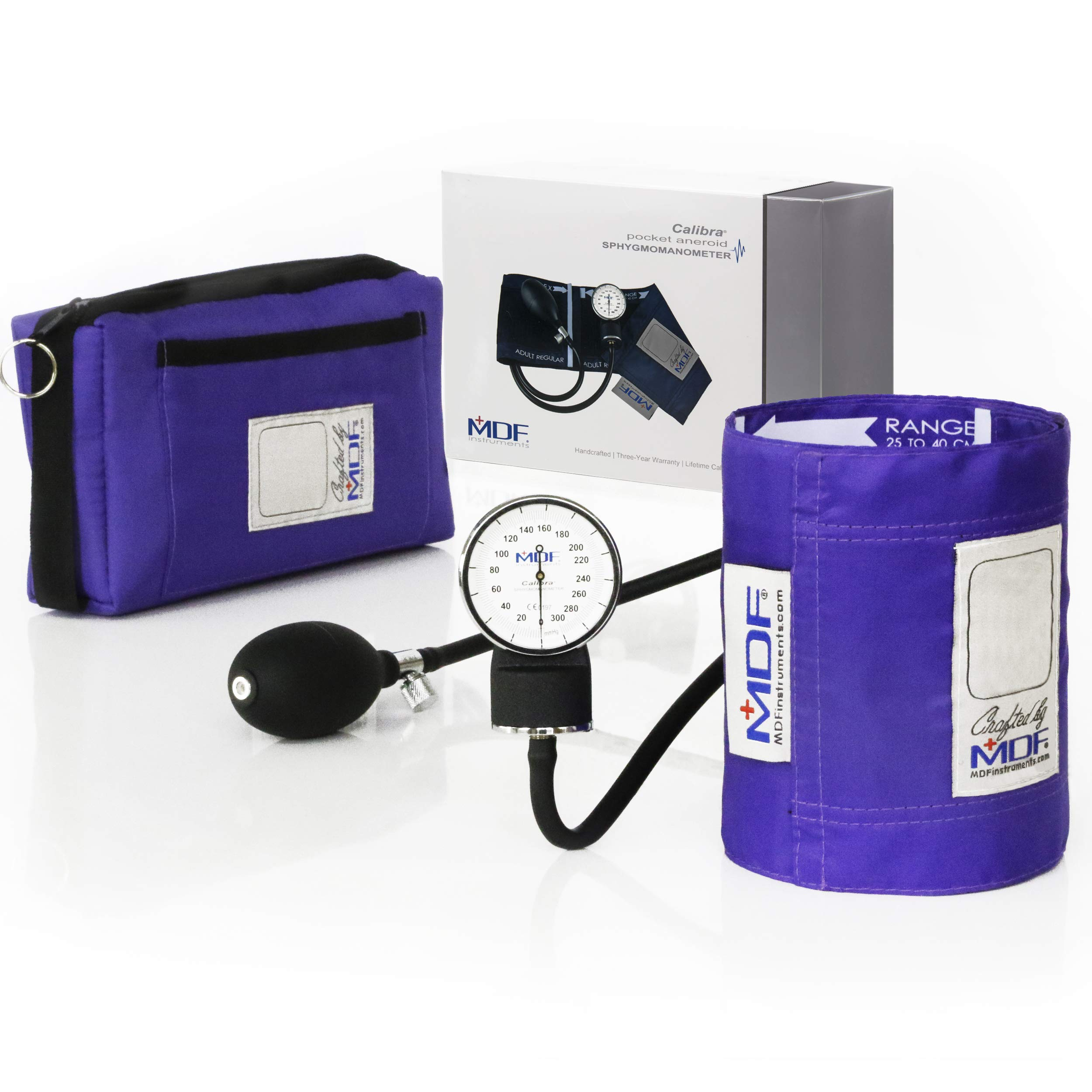 MDF Calibra Aneroid Premium Professional Sphygmomanometer, Blood Pressure Monitor with Adult Cuff & Carrying Case, Lifetime Calibration, White Dial, Purple Cuff, MDF808M08