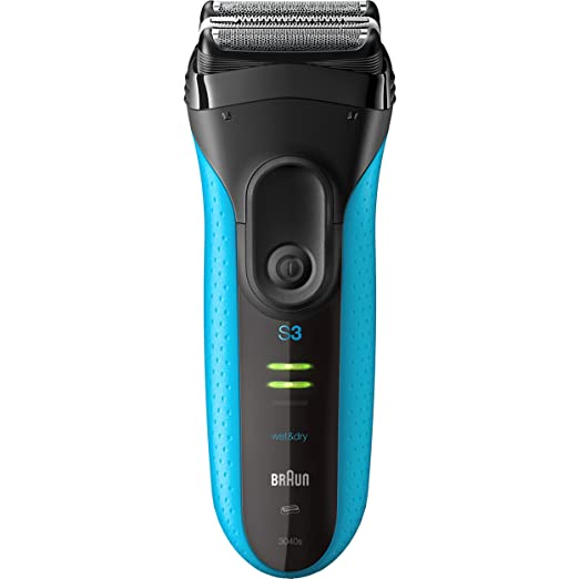 Braun Electric Shaver, Series 3 ProSkin 3040s Men's Electric Razor / Electric Foil Shaver, Rechargeable, Wet & Dry, Blue