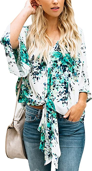 9697a4e8048 Women Floral Printed Tie Front Deep V Neck Short Sleeve Chiffon Tops Loose  Summer Blouses White (US 4-6) S at Amazon Women s Clothing store