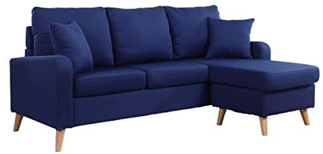 Wondrous Divano Roma Furniture Mid Century Modern Linen Fabric Small Space Sectional Sofa With Reversible Chaise Dark Blue Machost Co Dining Chair Design Ideas Machostcouk