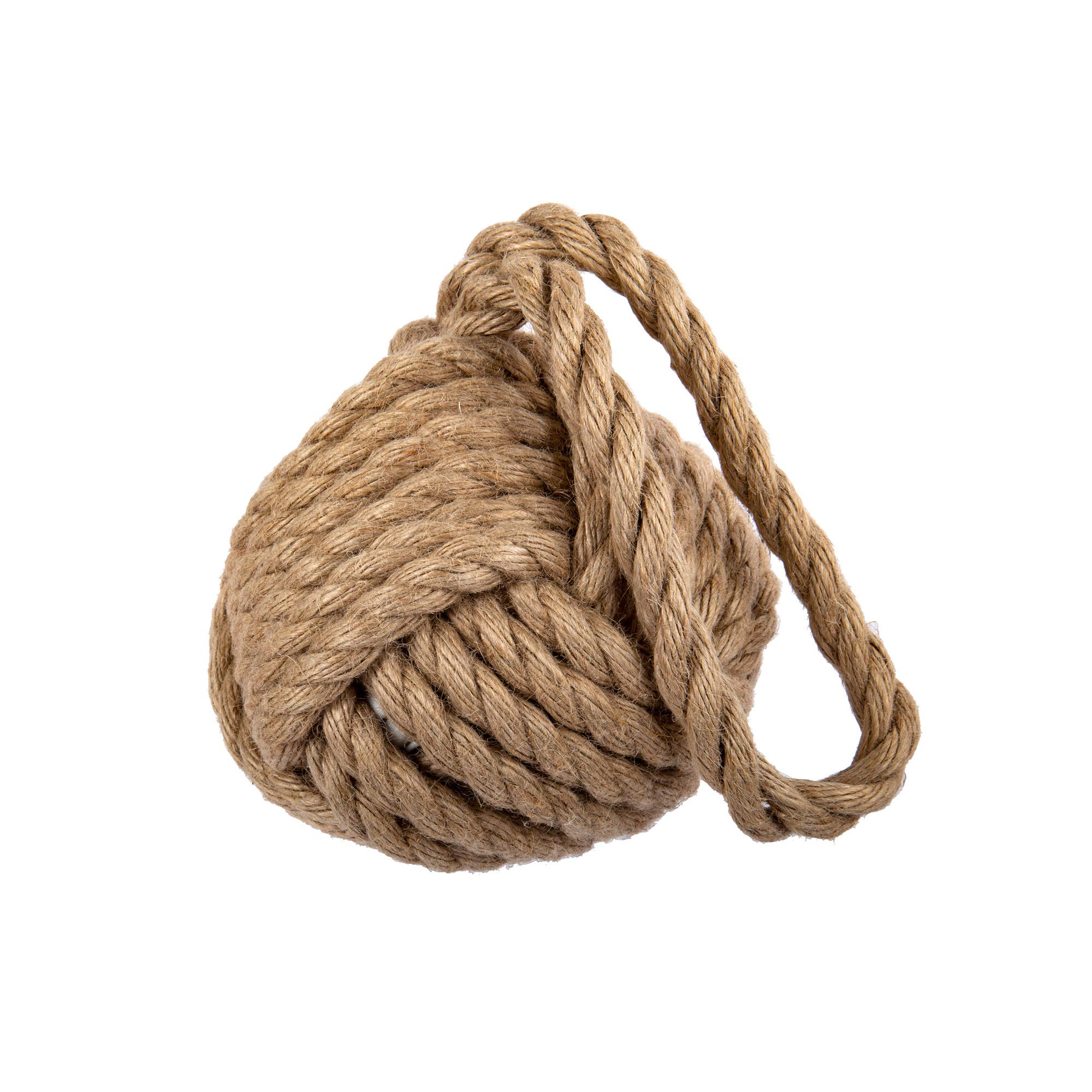 CTG Small Monkey Knot Rope Door Stopper, 6.25 x 6.25 inches, Natural, Beige