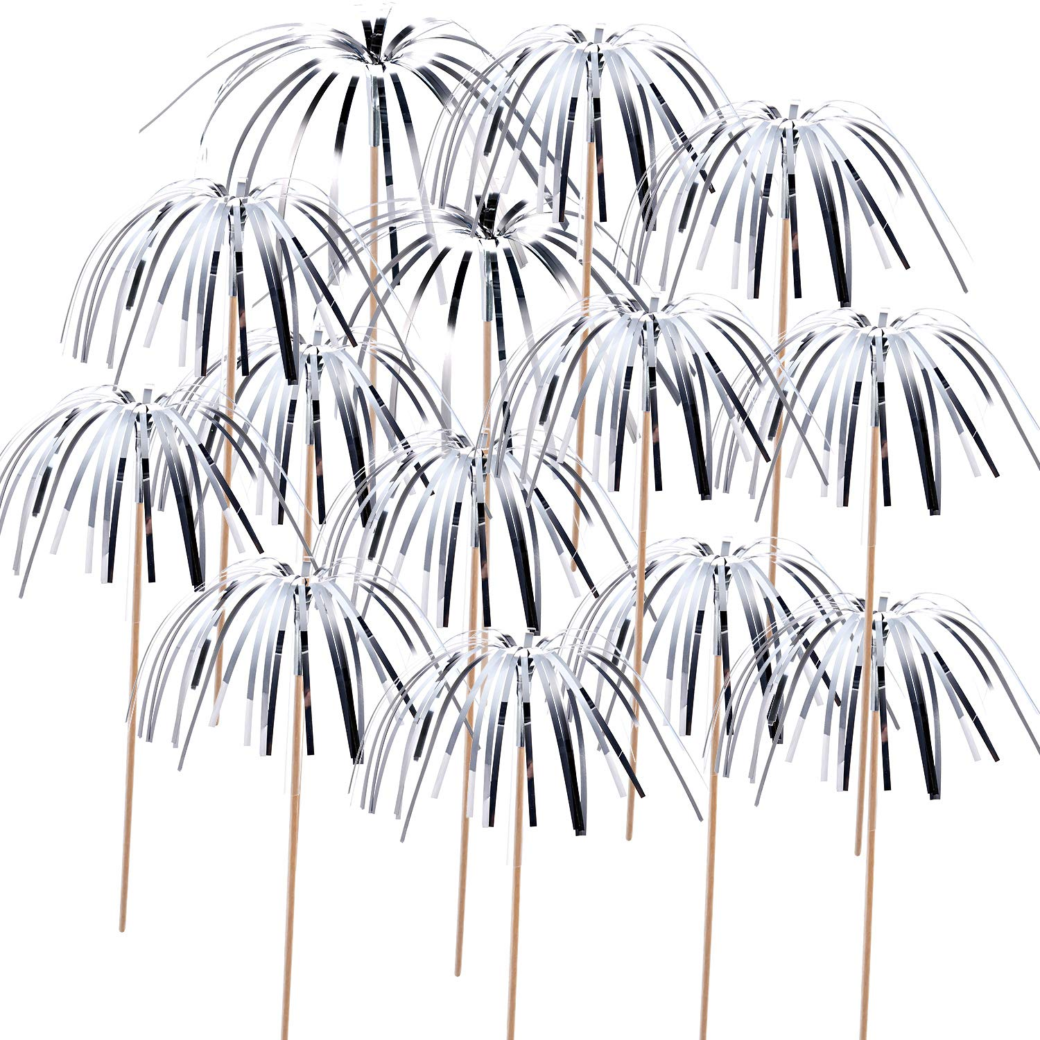 TecUnite 100 Pieces Foil Frill Firework Cupcake Picks Christmas Cupcake Topper 9 Inch Coconut Tree Shape, Food Picks Supplies Party Decoration (Silver)