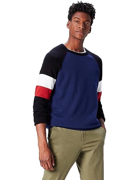 A Rotondo Colori Scollo Contrasto it Amazon Pullover Con Find Uomo IwxC5XqEn