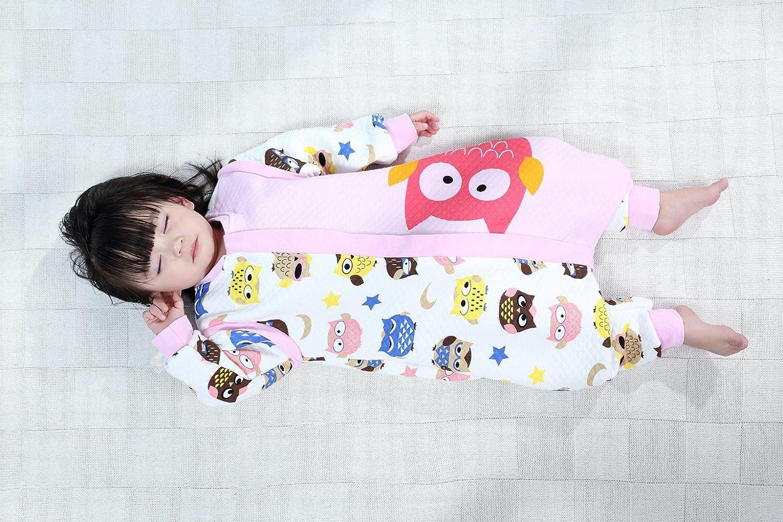 Beb/é Saco de dormir Con Cremallera Piernas Separadas Mangas Extra/íbles 1.5 Tog,Manzana Rosa M