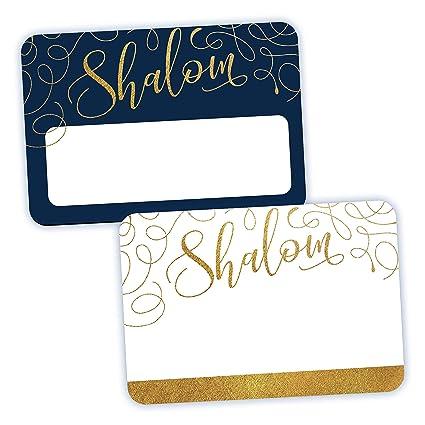 amazon com avery shalom name tags blue white hanukkah gift