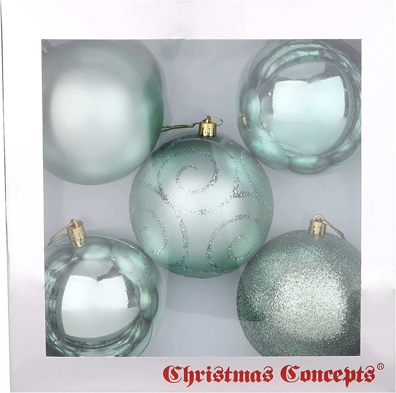 Pack of 5 Extra Large 100mm Black Decorated Christmas Baubles BA1005BK