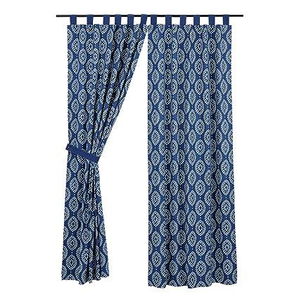 coastal window treatments beachy vhc brands coastal window curtains paloma blue tab top curtain panel pair indigo amazoncom