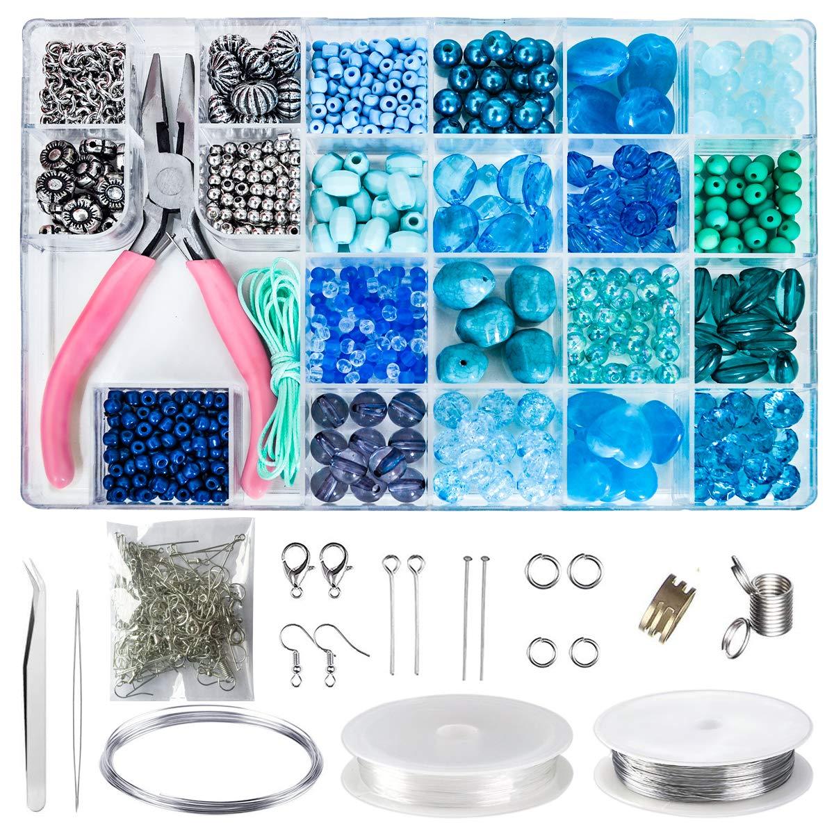 Jewelry Making Kit, Beginners Jewelry Kit Jewelry Making Starter Kit Beading Starter Kit Girl's Jewelry Making Beads Kit Include All Needed Beads, Jewelry Making Supplies for Adults, Girls,Teens