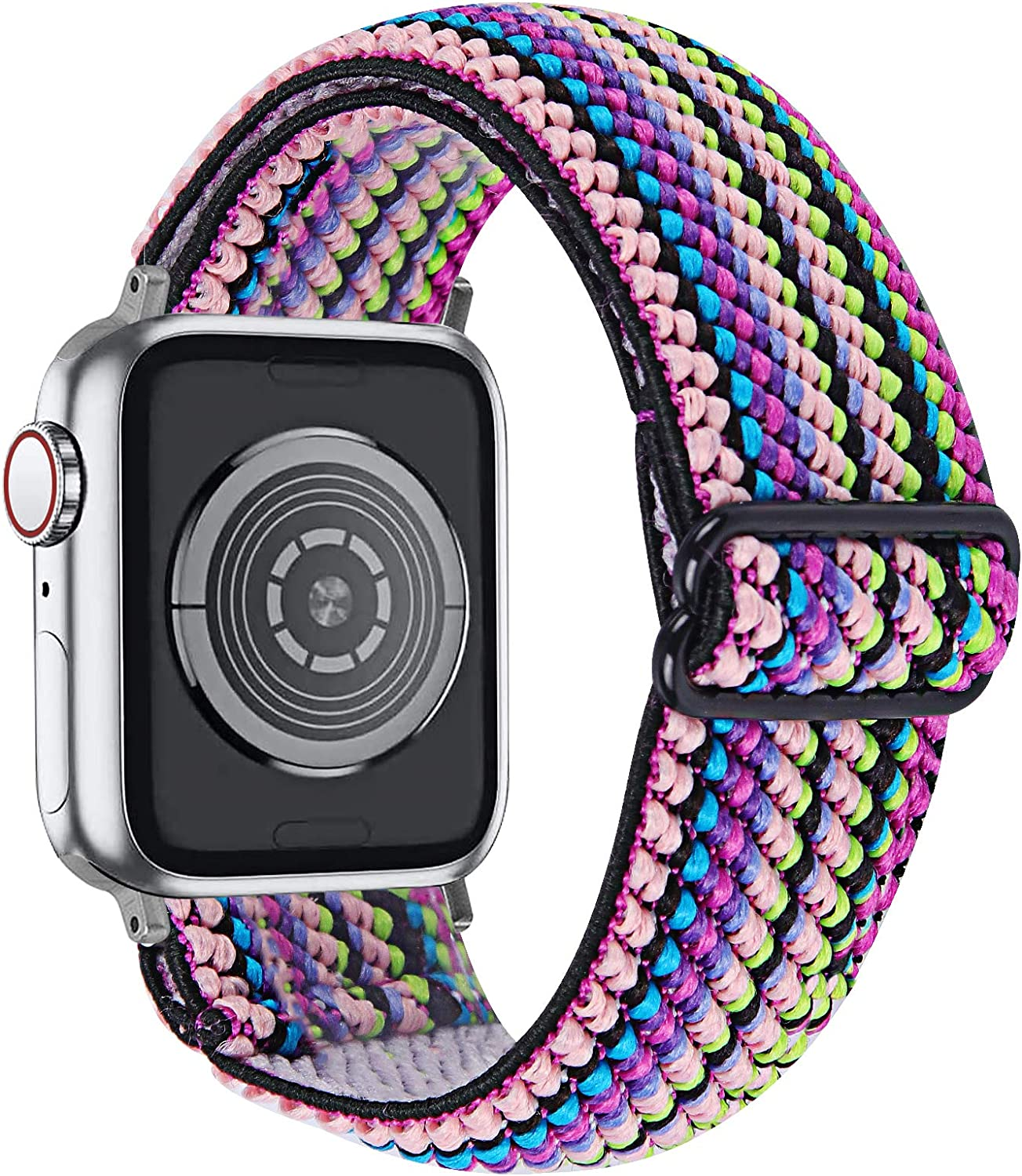 MEFEO Adjustable Elastic Bands Compatible with Apple Watch Bands 38mm 40mm 42mm 44mm, Soft Stretch Bracelet Replacement for iWatch Series 6/5/4/3/2/1 & SE Women Girls (Rainbow, 38mm/40mm)