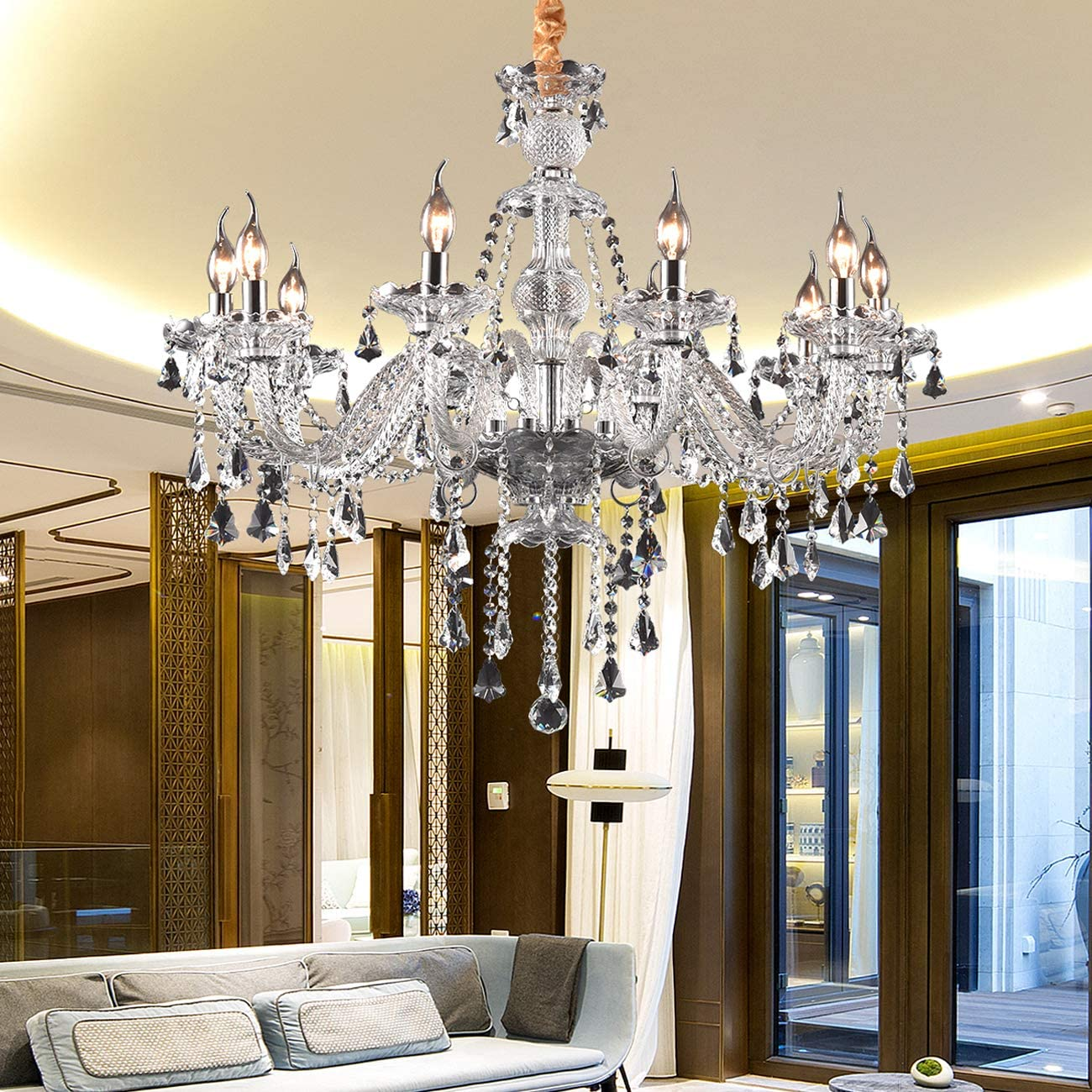 Ridgeyard Modern Luxurious K9 Crystal Chandelier Candle Cognac Pendant Lamp Ceiling Living Room Lighting for Dining Living Room Bedroom Hallway Entry