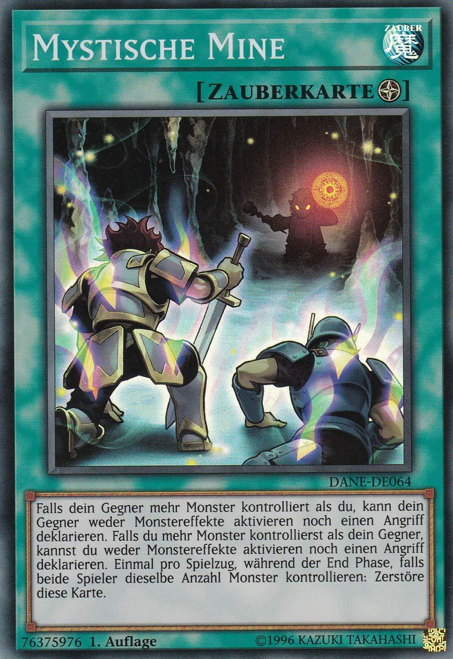 Klarsicht Super Rare DANE-DE064 Deutsch Auflage im Set mit Ultra Pro Toploader und Ultra Pro Schutzh/ülle Yu-Gi-Oh 1 Mystische Mine