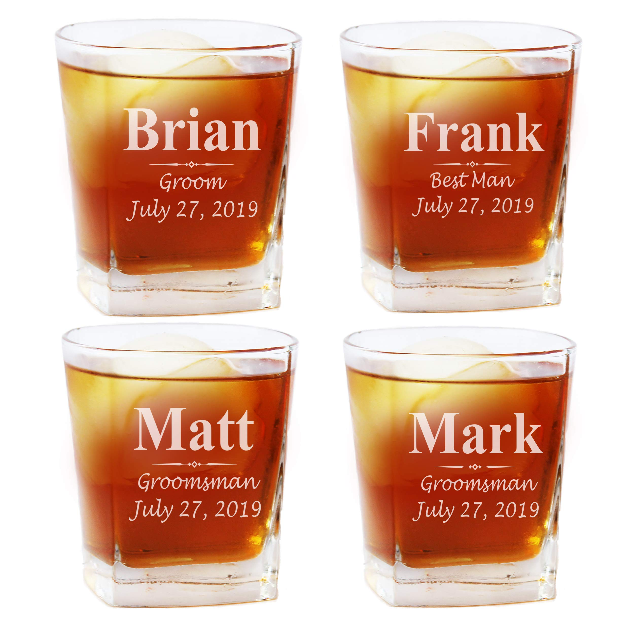 Set of 1, 4, 5 and More Custom Personalized Whiskey Rocks Glasses for Bachelor Party - Engraved Square Rocks Glass Gifts for Groom, Groomsman - 3-Lines Style (4)