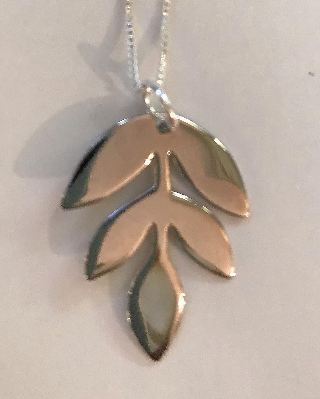 Handmade Sterling Silver Leaf Necklace Pendant