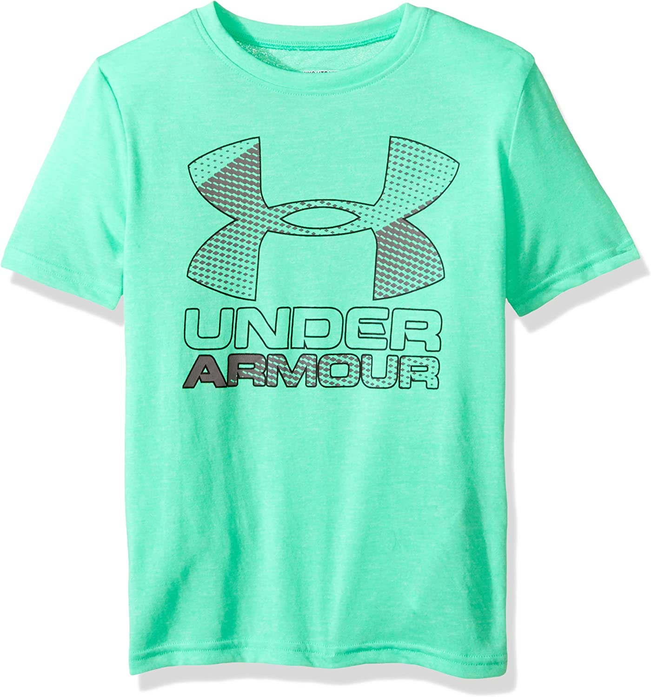 Vapor Green//Overcast Under Armour Boys Big Logo Hybrid 2.0 Short Sleeve Printed T YXL