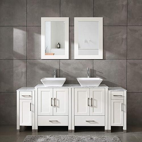 Homecart 72 Bathroom Vanity Cabinet Double Sink White Solid Wood w Marbel Counter Top