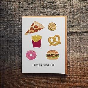 43LenaJon Funny Valentine's Day Card Funny Love Card Stoner Love Card Munchies Card Pun Valentine Card Love Card for Food Lover Greetings Cards with Envelopes Funny Card 10'' x 7'' pf087