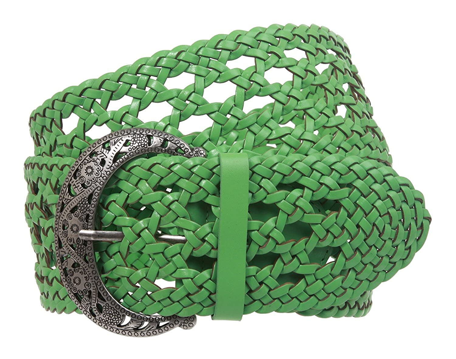 MONIQUE Women Perforated Fashion Braided Woven Genuine Leather 2.5 Belt