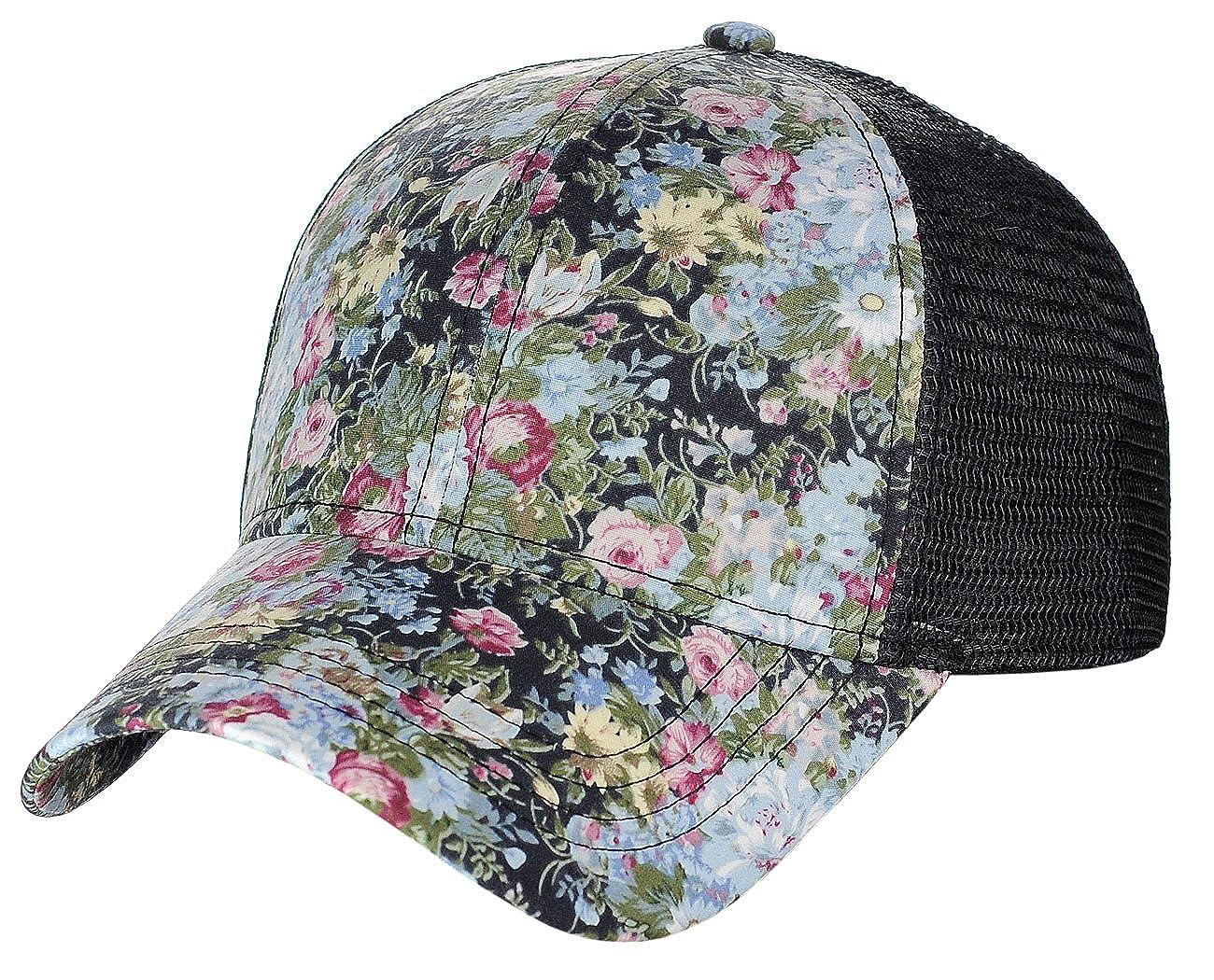 C& C Women's Floral Pattern Adjustable Mesh Trucker Baseball Cap Hat Rose Navy C.C BA733-NV