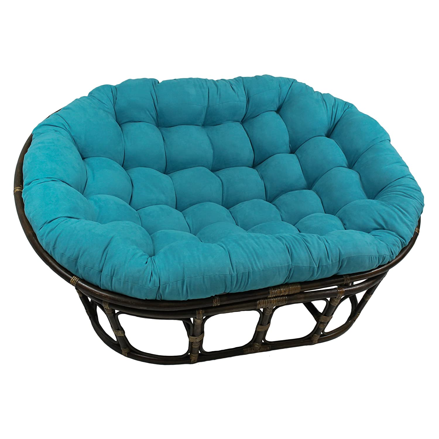 Astonishing Blazing Needles Solid Microsuede Double Papasan Chair Cushion 48 X 6 X 65 Aqua Blue Onthecornerstone Fun Painted Chair Ideas Images Onthecornerstoneorg